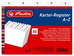 herlitz Karteiregister A - Z, PP, A5 quer, weiß, 24-teilig