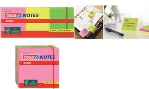 tesa Neon Notes Haftnotizen, 40 x 50 mm, 3-farbig