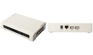 DIGITUS Desktop Fast Ethernet Printserver, 3 Port, weiß