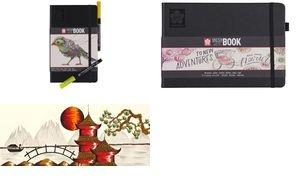 SAKURA Skizzenbuch/Notizbuch, 120 x 120mm, schwarz/cremeweiß
