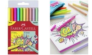 FABER-CASTELL Fasermaler GRIP Neon + Pastell, 10er Etui