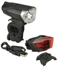 FISCHER Fahrrad-LED/USB-Beleuchtungs-Set 35 Lux