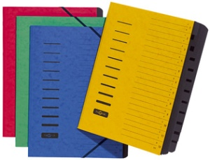 PAGNA Ordnungsmappe, DIN A4, aus Karton, 12 Fächer, grün