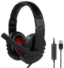 LogiLink USB-Headset High Quality, mit Mikrofon, schwarz/rot