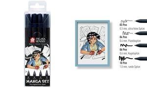 SAKURA Manga-Set PIGMA SENSEI, 4er Etui, schwarz