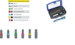 HEYTEC Bit-Satz-Box, bestückt, 32-teilig, Mini-Bit-Knarre