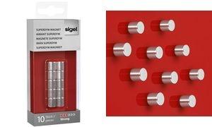 """sigel Neodym-Design-Magnete Zylinder """"Strong"""" C5, 10er Set"""