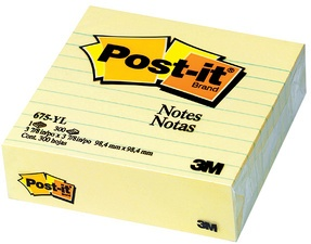 Post-it Haftnotizen XL, liniert, 100 x 100 mm, gelb