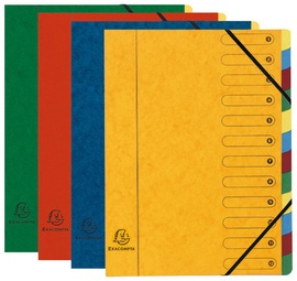 EXACOMPTA Ordnungsmappe Harmonika, Karton, 12 Fächer, farbig