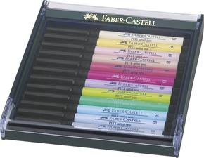 FABER-CASTELL Tuschestift PITT artist pen, 12er Etui Pastell