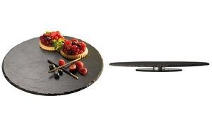APS Naturschiefer-Tortenplatte, rund, anthrazit