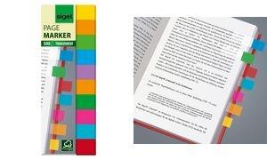 sigel Haftmarker Film Multicolor, 44 x 12,5 mm, 500 Blatt