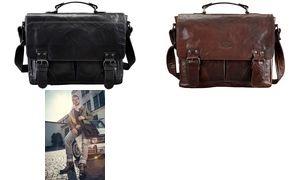 """PRIDE&SOUL Umhängetasche """"Business Bag L"""", Leder, schwarz"""