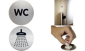"""DURABLE Piktogramm """"WC"""", Durchmesser: 83 mm, silber"""