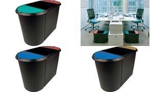 helit Papierkorb Trio-System, oval, PE, schwarz/rot/blau