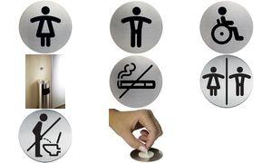 """DURABLE Piktogramm """"WC-Herren"""", Durchmesser: 83 mm, silber"""