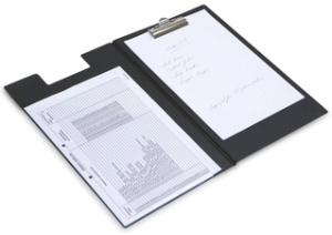 RAPESCO Klemmbrett-Mappe, DIN A4, PVC-Folie genarbt, schwarz